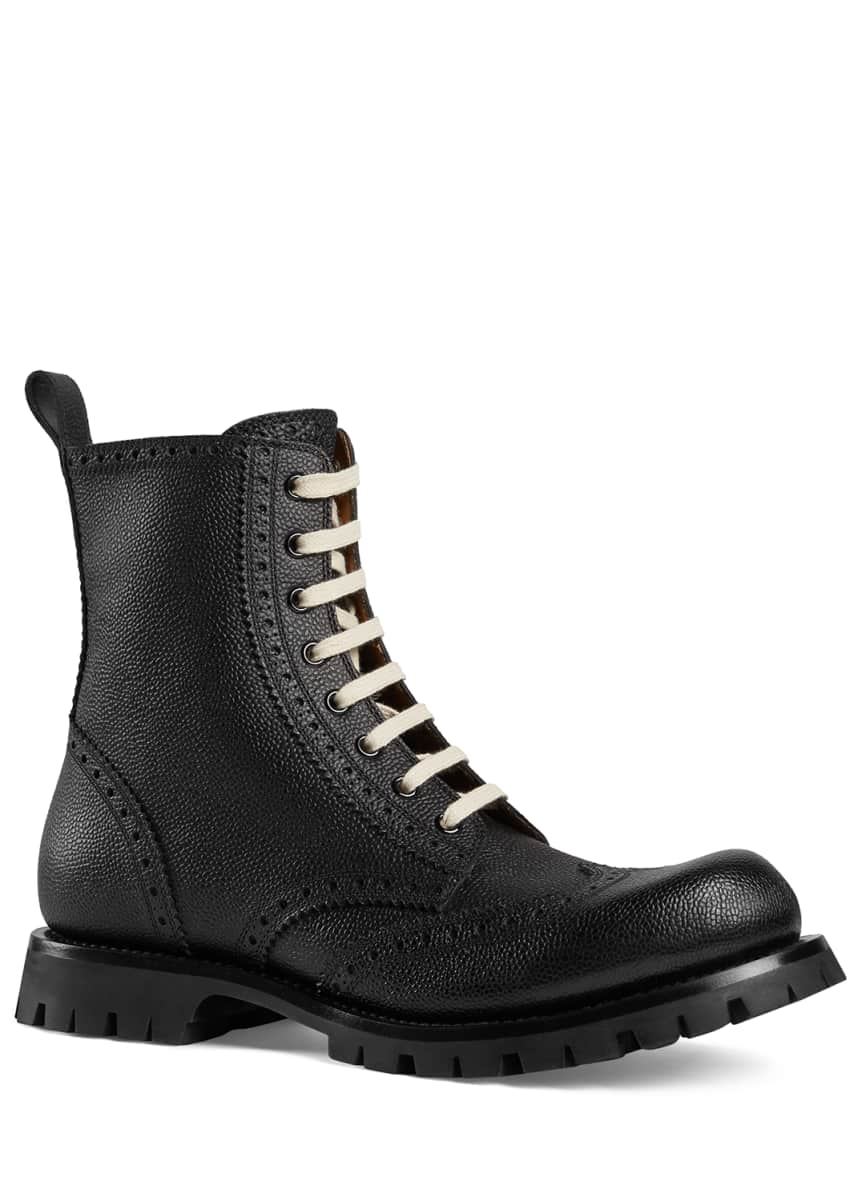 Gucci Men's New Arley Lace-Up Boots w/ Brogue Detailing