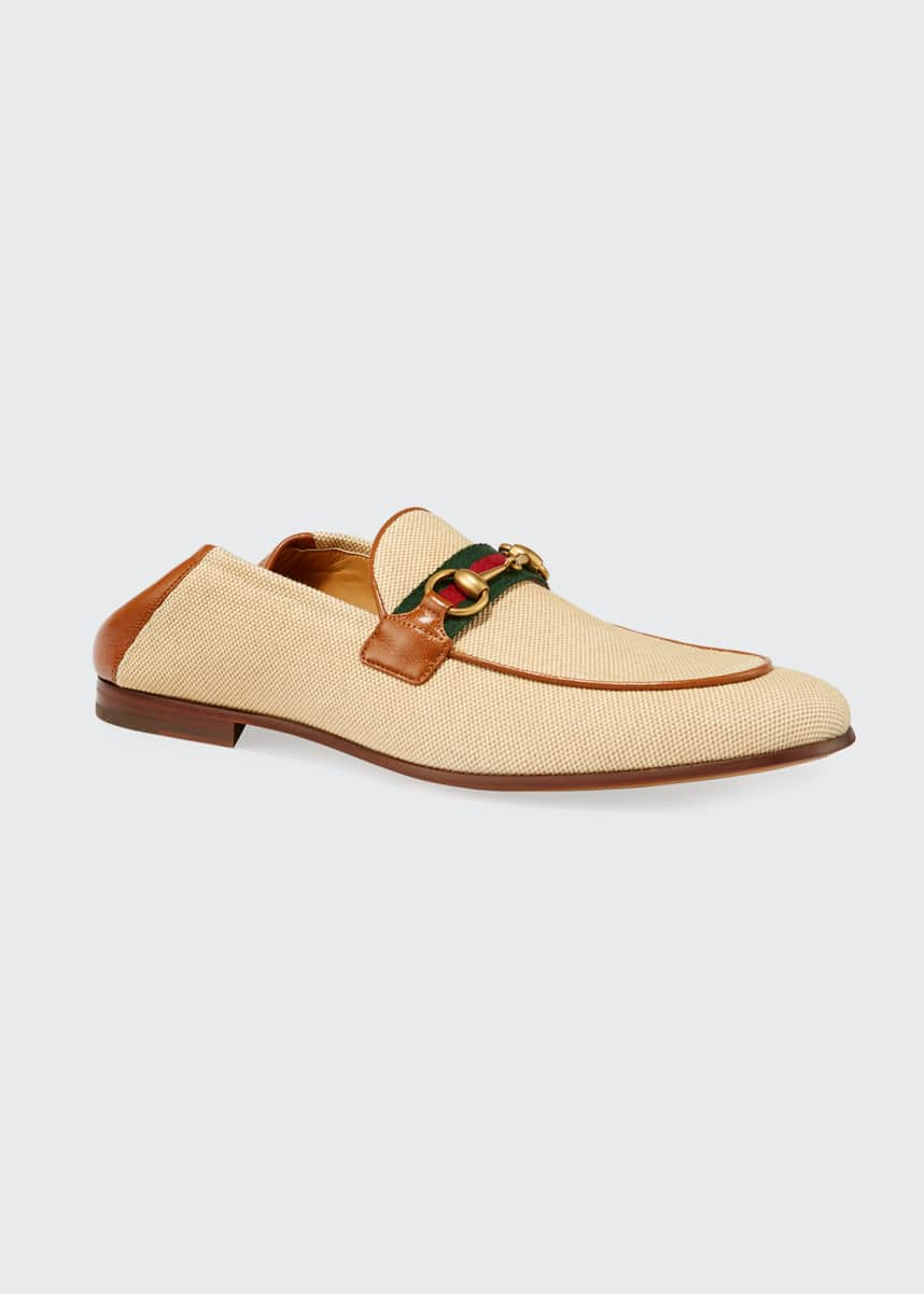 Gucci Men's Canvas & Leather Loafers