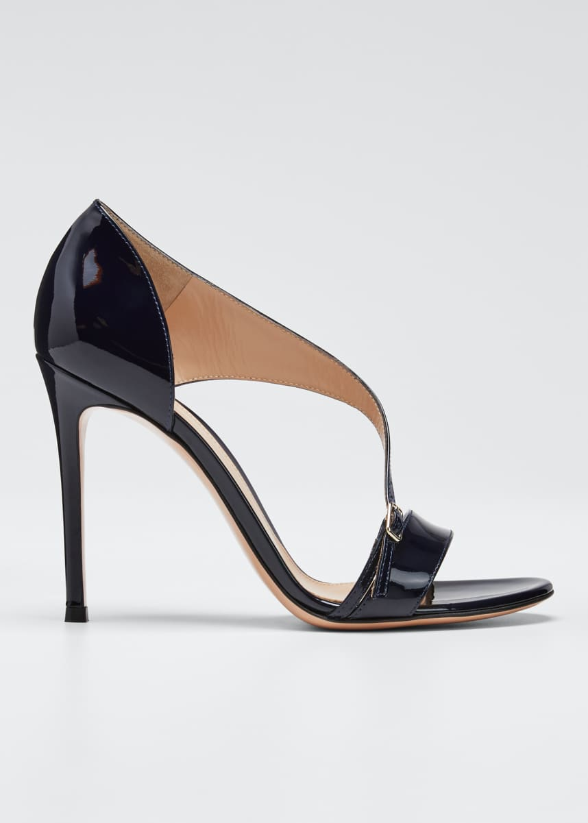 Gianvito Rossi Patent Cross-Strap Sandals, Navy