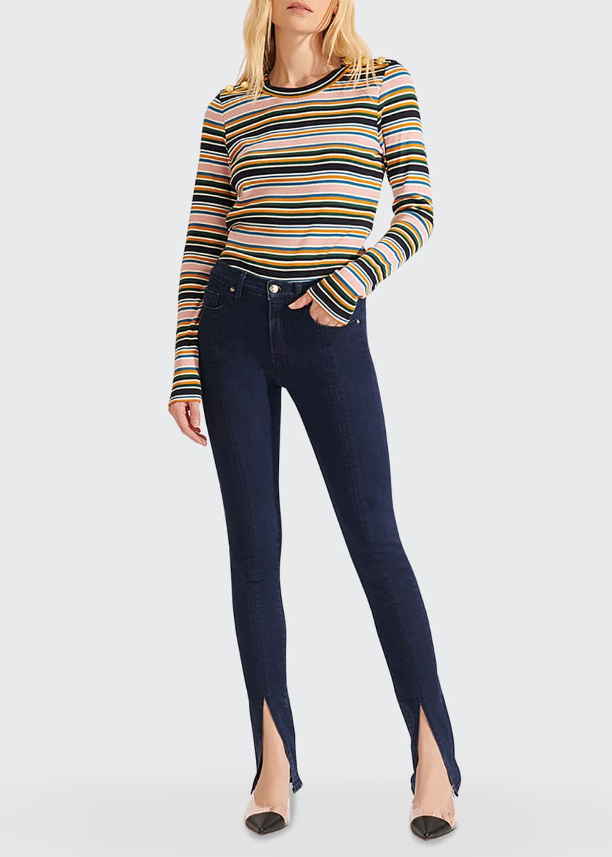 Veronica Beard Jeans Mayer Striped Long-Sleeve Top with Buttons