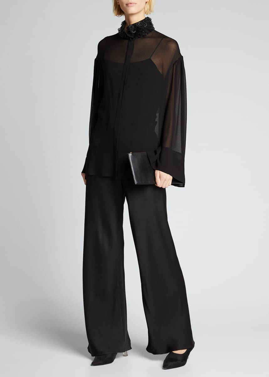 THE ROW Sarabee Sheer Organza Embellished-Neck Blouse