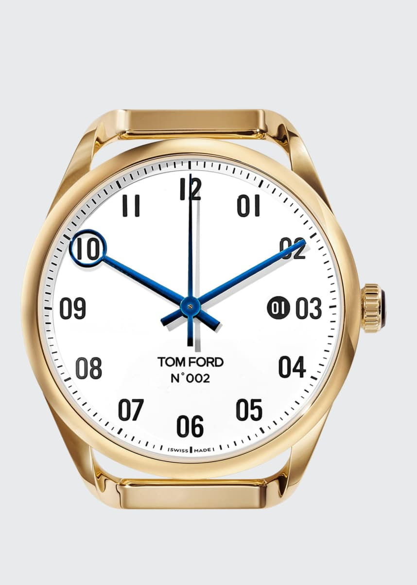 TOM FORD TIMEPIECES Men's Automatic Round 18K Gold Case, White Dial, Large