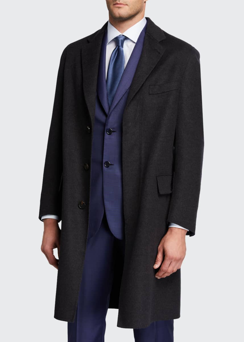 Brioni Men's Double-Face Knit Unlined Topcoat