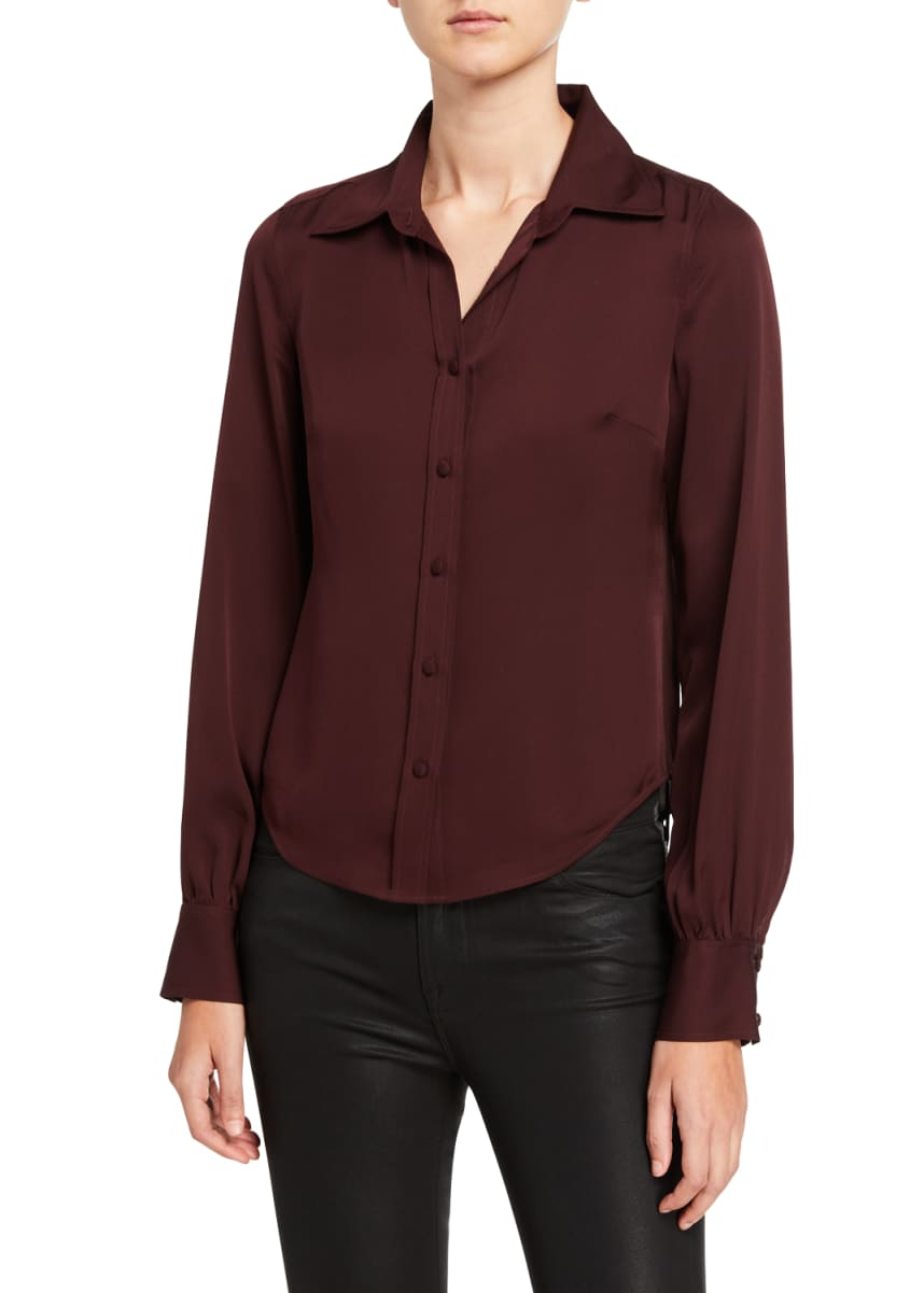 FRAME 70s Contrast-Stitch Silk Button-Down Shirt
