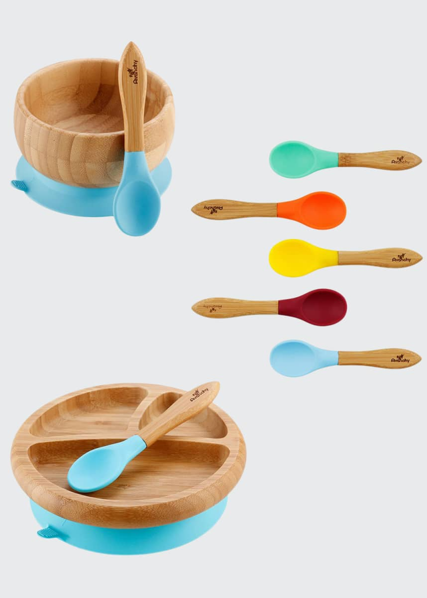 Avanchy Baby's Bamboo Suction Bowl, Plate & Spoon Set