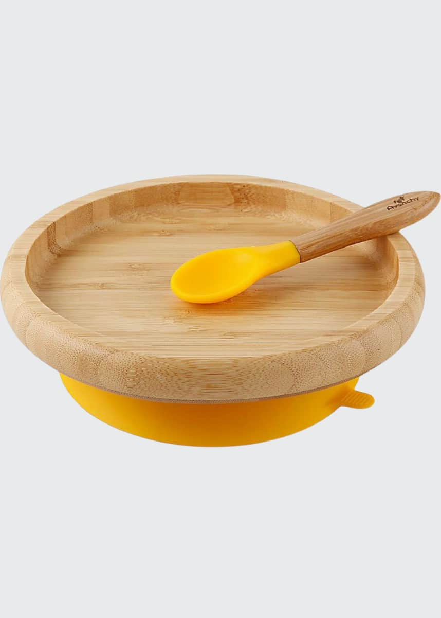 Avanchy Baby's Bamboo Suction Classic Plate & Spoon Set