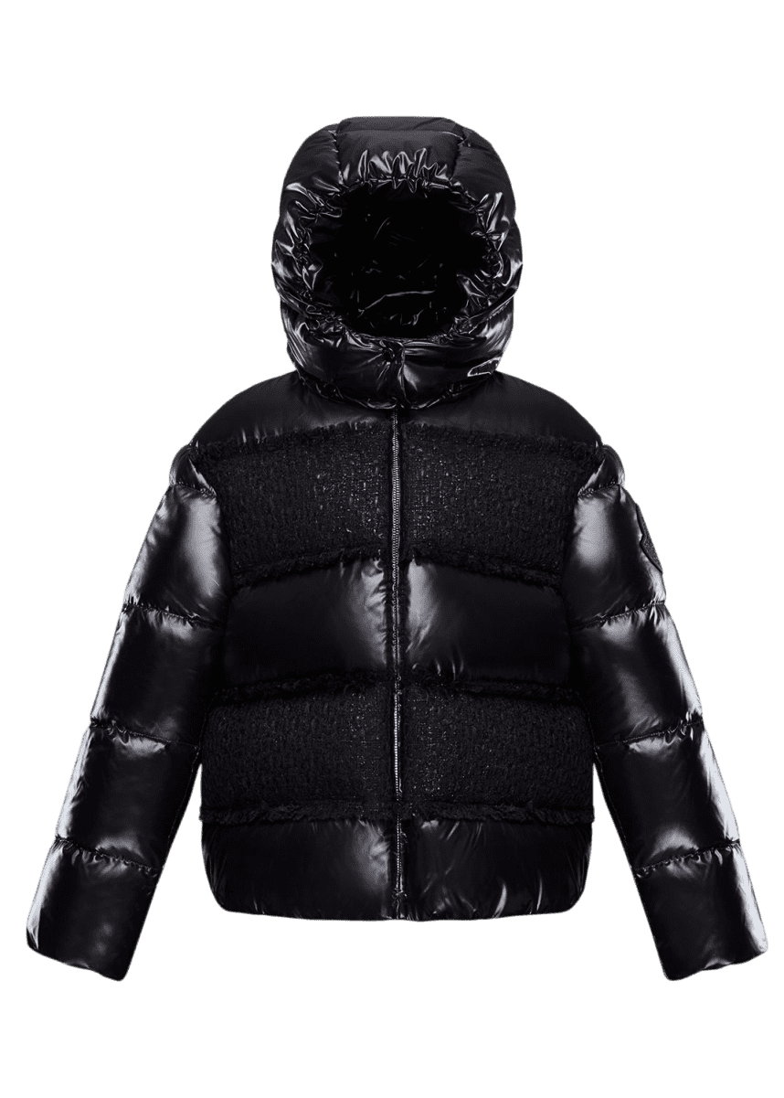 Moncler Elbe Detachable-Hood Puffer Coat w/ Tweed, Size 8-14