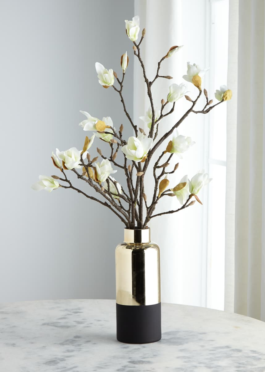 John-Richard Collection Japanese Magnolias in Black and Gold Container