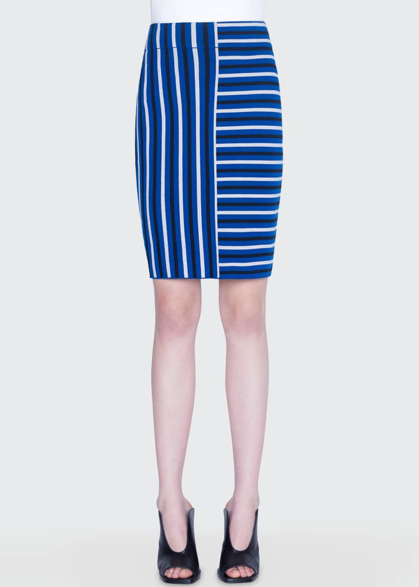Akris punto Merino Square-Striped Jacquard Skirt