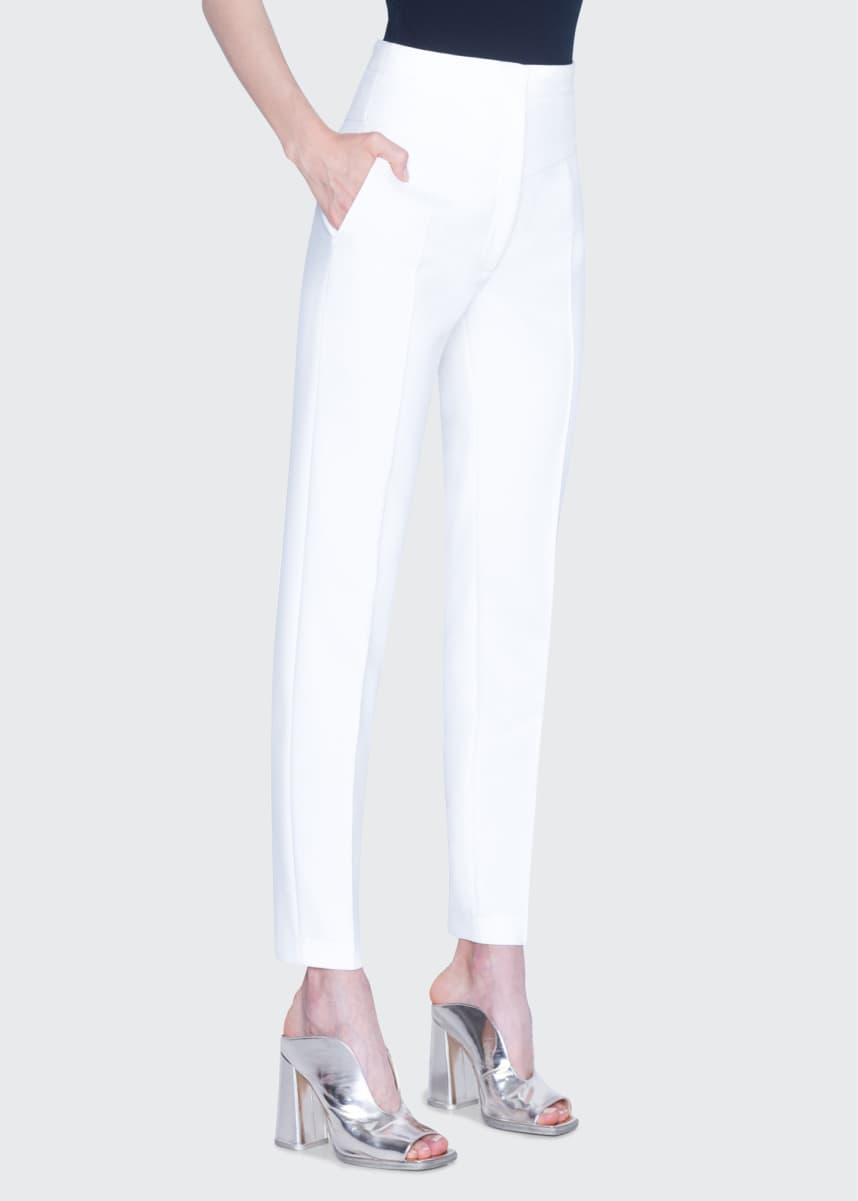 Akris punto Freya Pebble Crepe High-Rise Pants, White