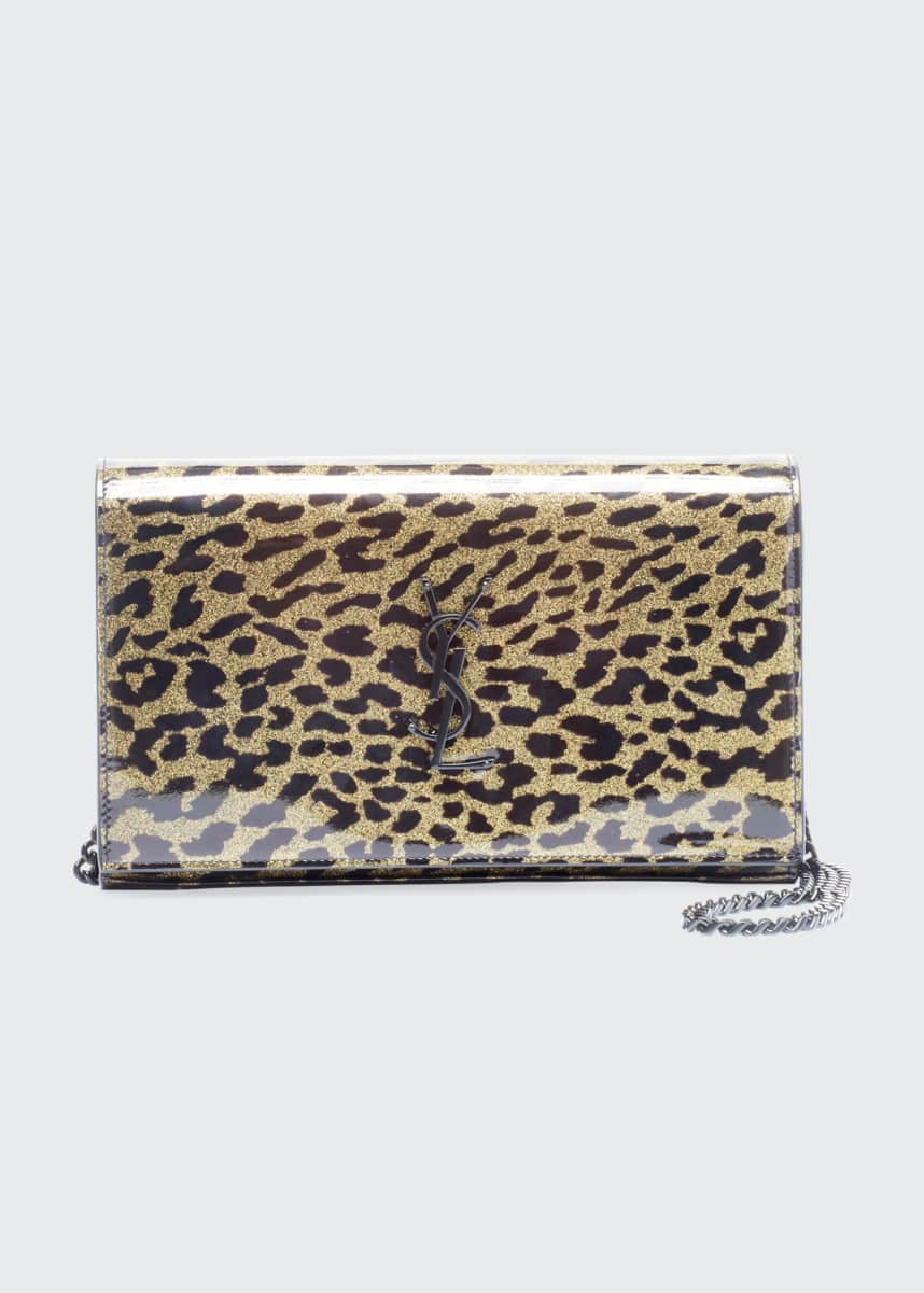 Saint Laurent Leopard Monogram Wallet On Chain