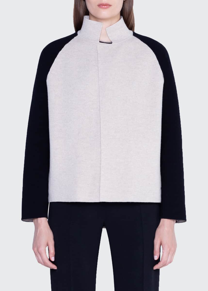 Akris Cashmere Colorblock Open-Front Jacket