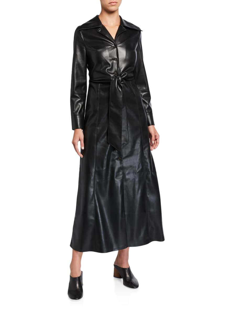 Nanushka Tarot Vegan Leather Tie-Waist Dress