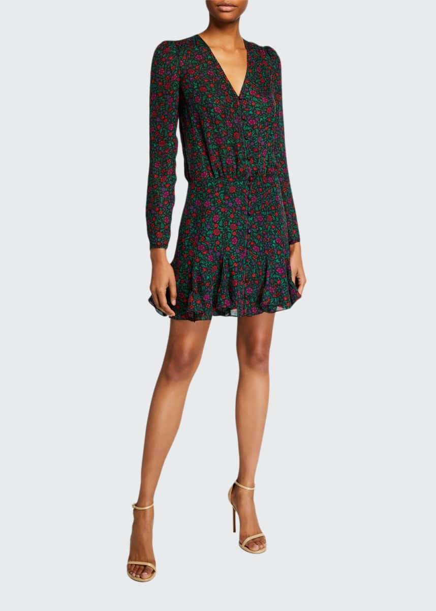 Veronica Beard Riggins Long-Sleeve Floral Flounce Dress