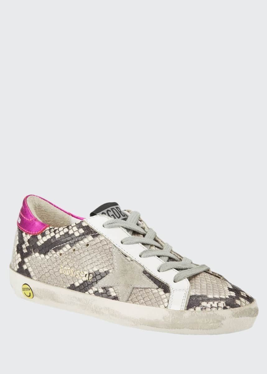 Golden Goose Girl's Superstar Snakeskin Embossed Leather Sneakers, Baby/Toddler