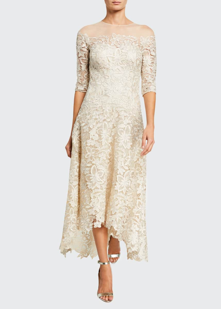 Rickie Freeman for Teri Jon Lace High-Low Mesh-Yoke Gown