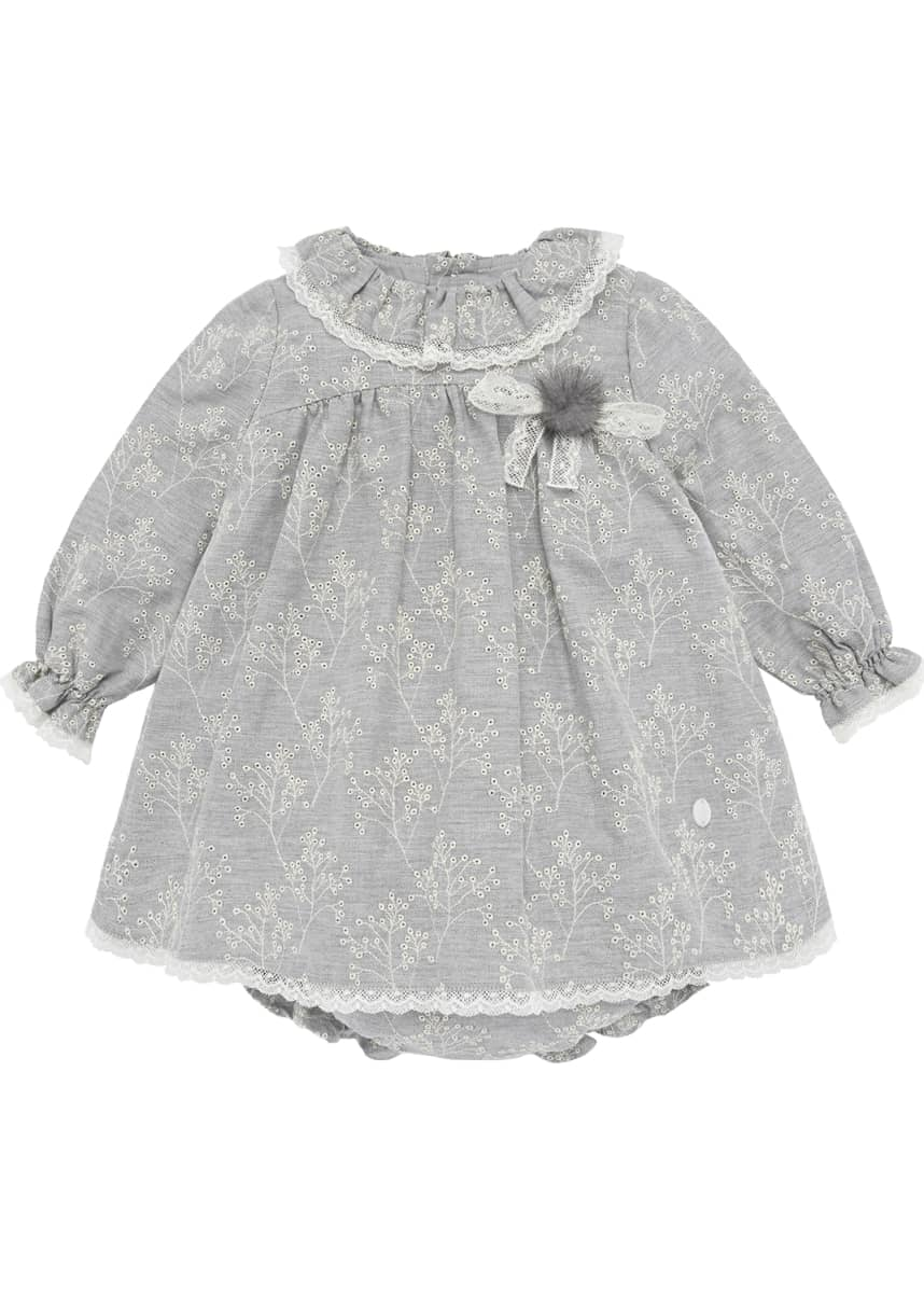 Pili Carrera Eyelet Embroidered Lace Trim Dress w/ Bloomers, Size 12M-3
