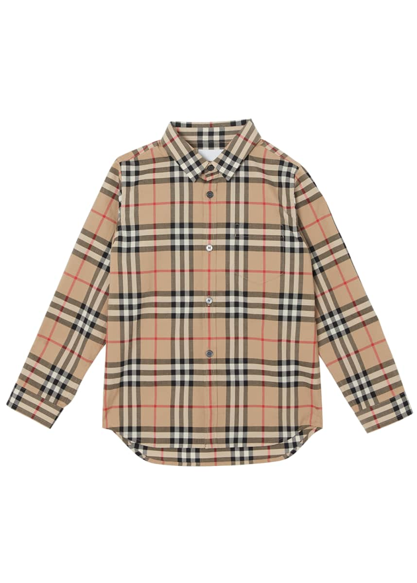 Burberry Fredrick Long-Sleeve Check Shirt, Size 3-14