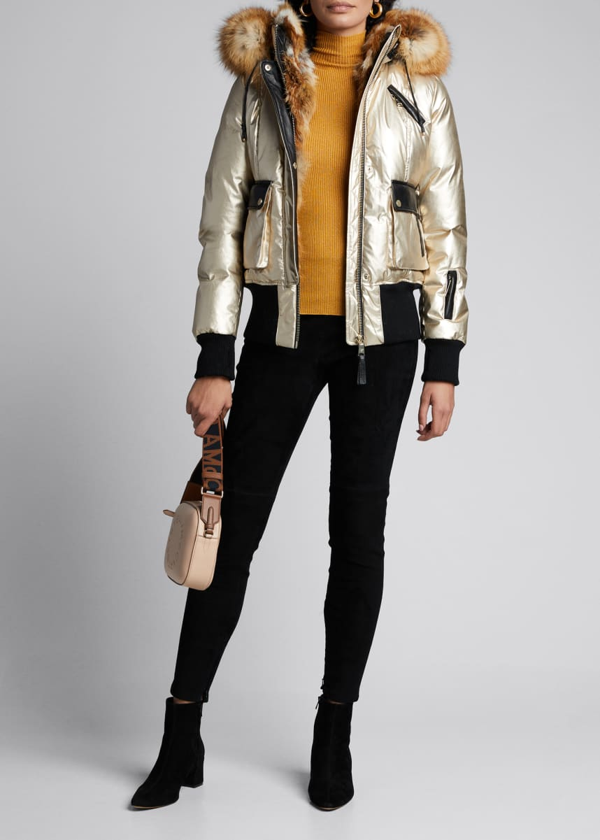 Nicole Benisti Mayfair Fox Fur-Trimmed Hooded Puffer Coat