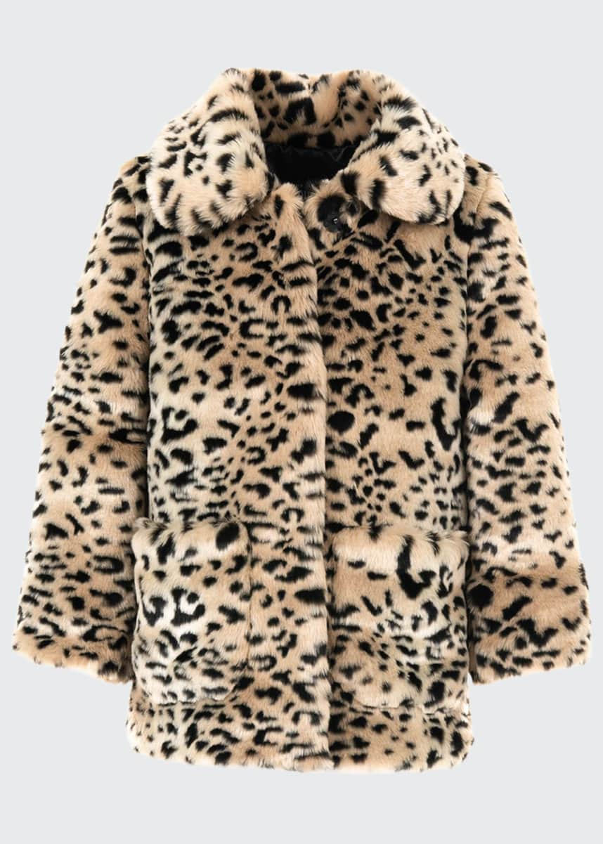 Fabulous Furs Kid's Cheetah-Print Faux-Fur Coat, Size XXS-L