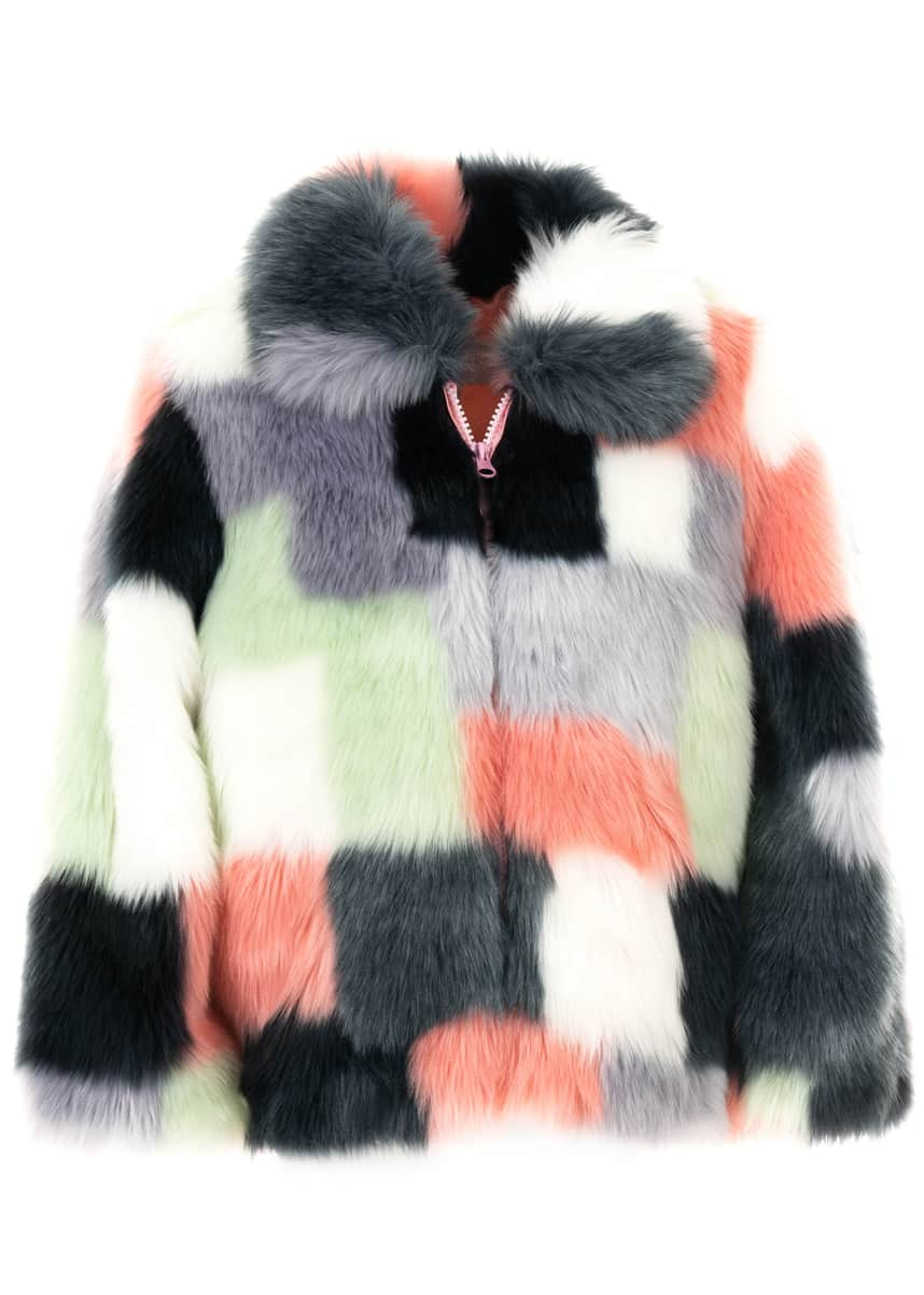 Fabulous Furs Kid's Faux-Fur Patchwork Coat, Size XXS-L