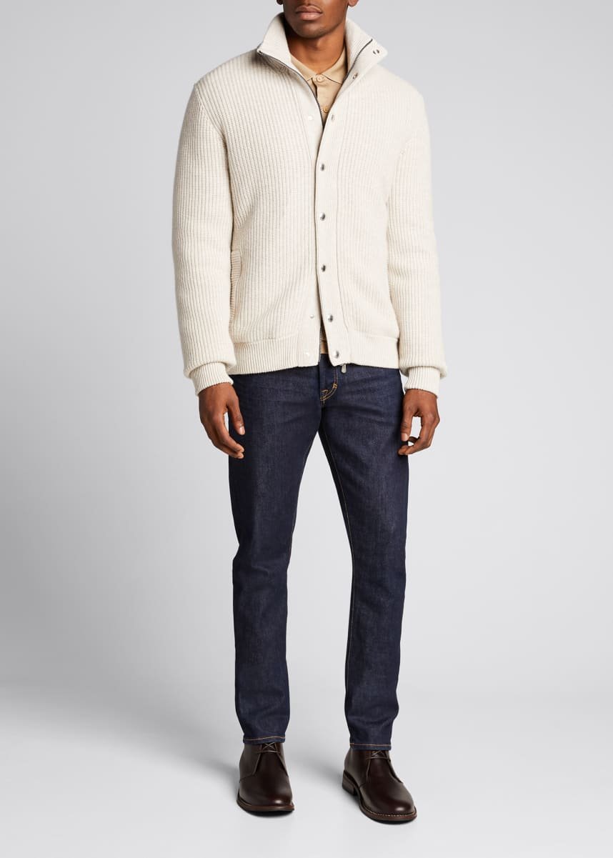 Brunello Cucinelli Men's Cashmere Down Bomber Jacket