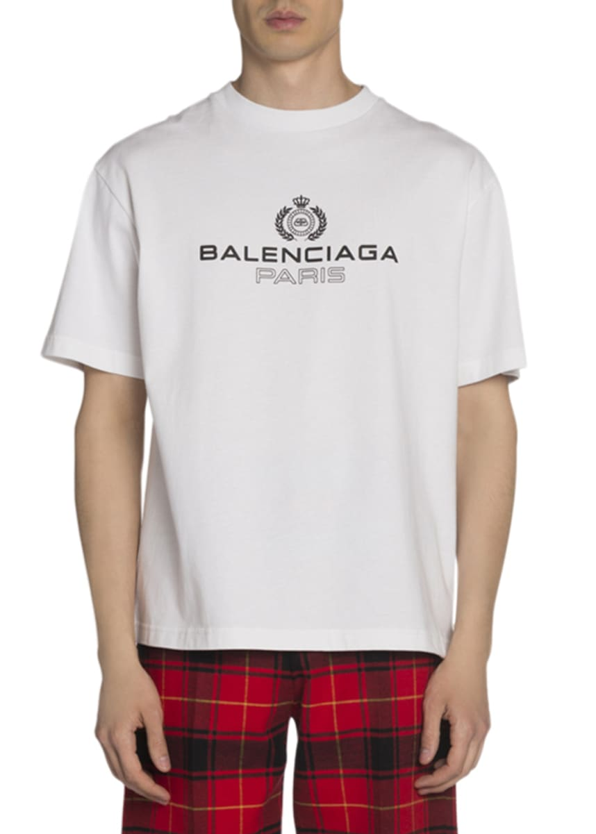 Balenciaga Men's Leaf Logo Crewneck T-Shirt