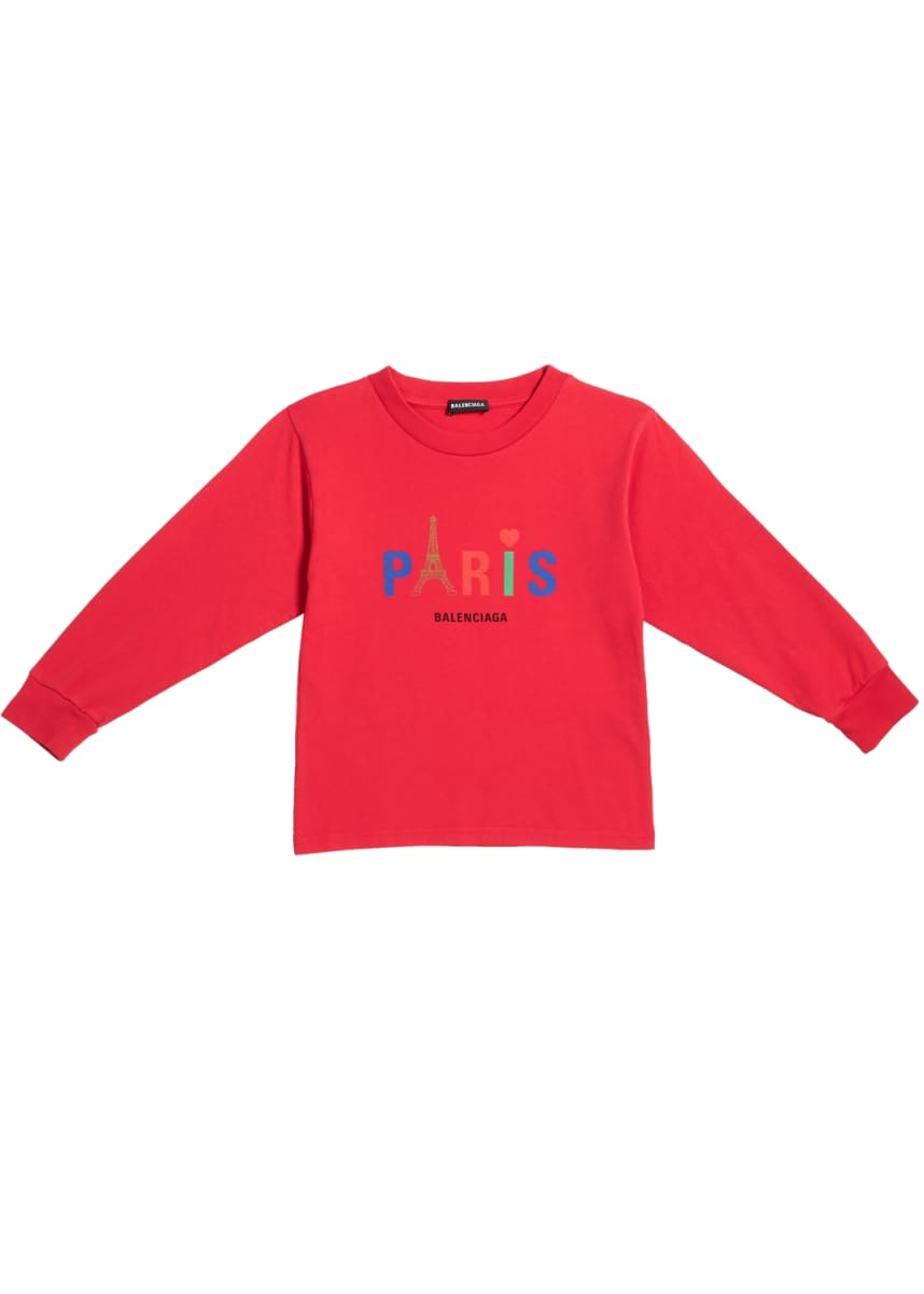 Balenciaga Kid's Paris Multicolor Icon Logo Sweatshirt, Size 2-10