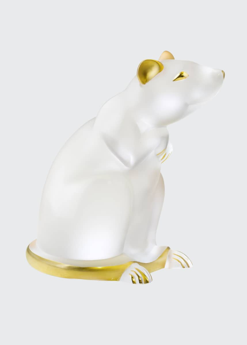 Lalique Clear Gold Stamped Rat Figurine