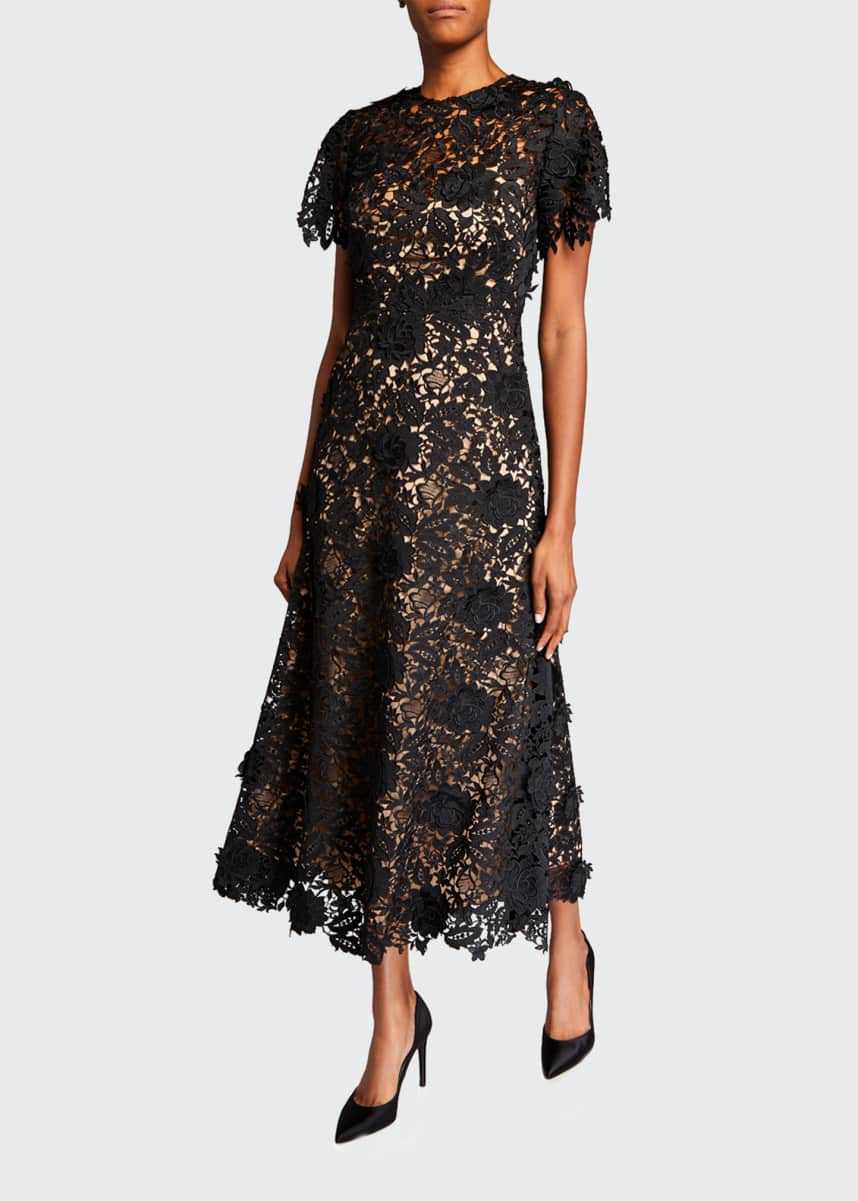 Lela Rose Lace Flutter-Sleeve Midi Dress