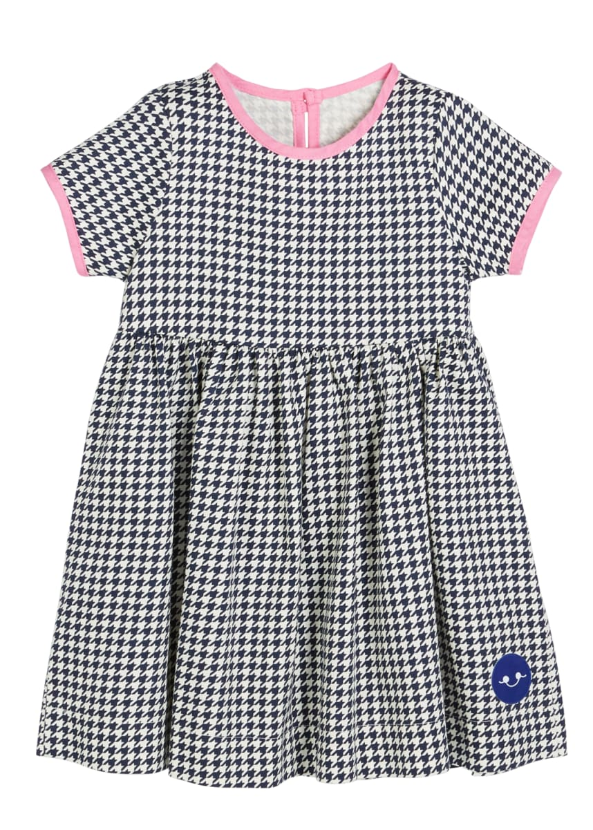 Smiling Button Houndstooth Contrast-Trim Short-Sleeve Dress, Size 0m-10
