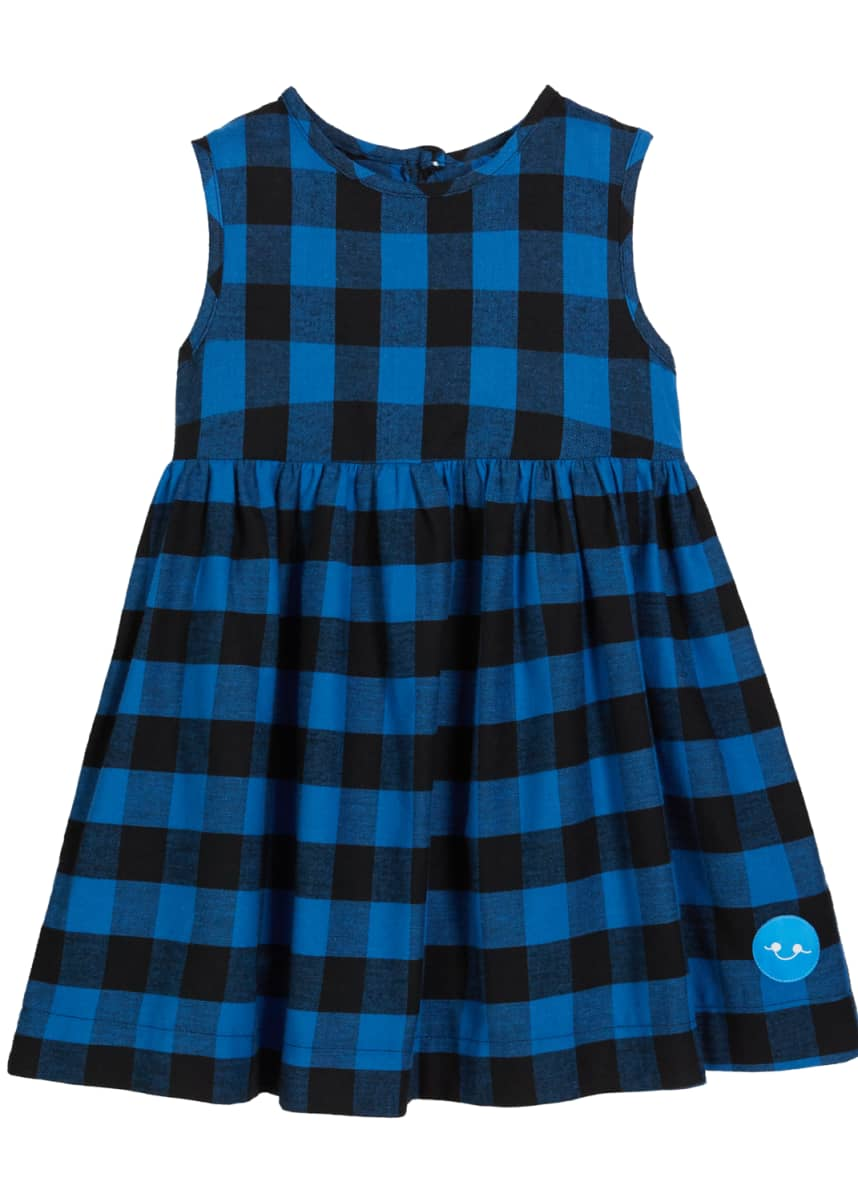 Smiling Button Flannel Buffalo Check Sleeveless Dress, Size 0m-10