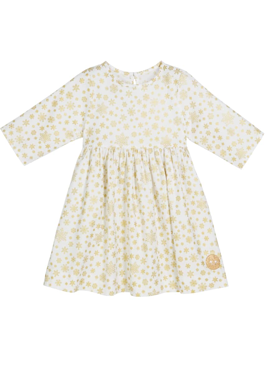 Smiling Button Golden Snowflake Print 3/4-Sleeve Dress, Size 18m-10