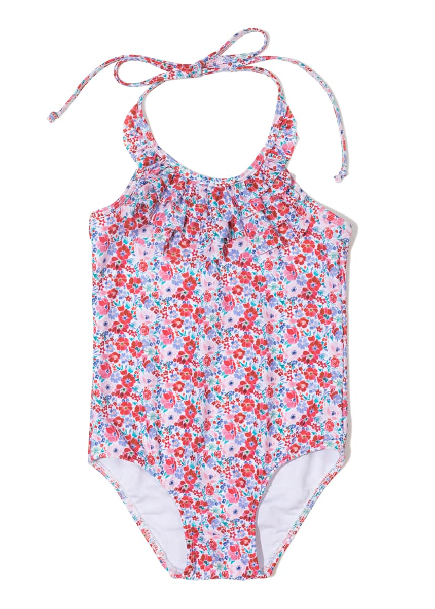 Shoshanna Ditzy Blossom Ruffle One-Piece Swimsuit, Size 6-14
