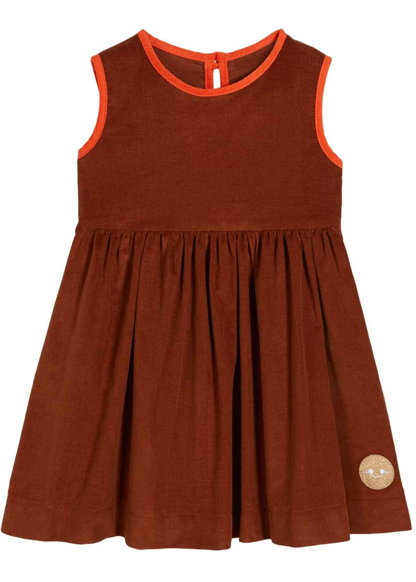 Smiling Button Corduroy Contrast-Trim Sleeveless Dress, Size 0m-10