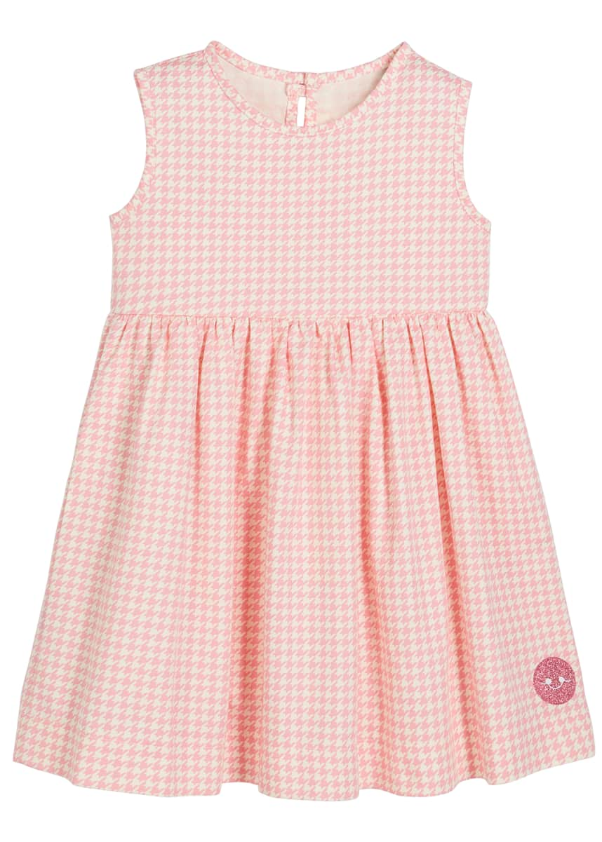 Smiling Button Houndstooth Print Sleeveless Dress, Size 0m-10