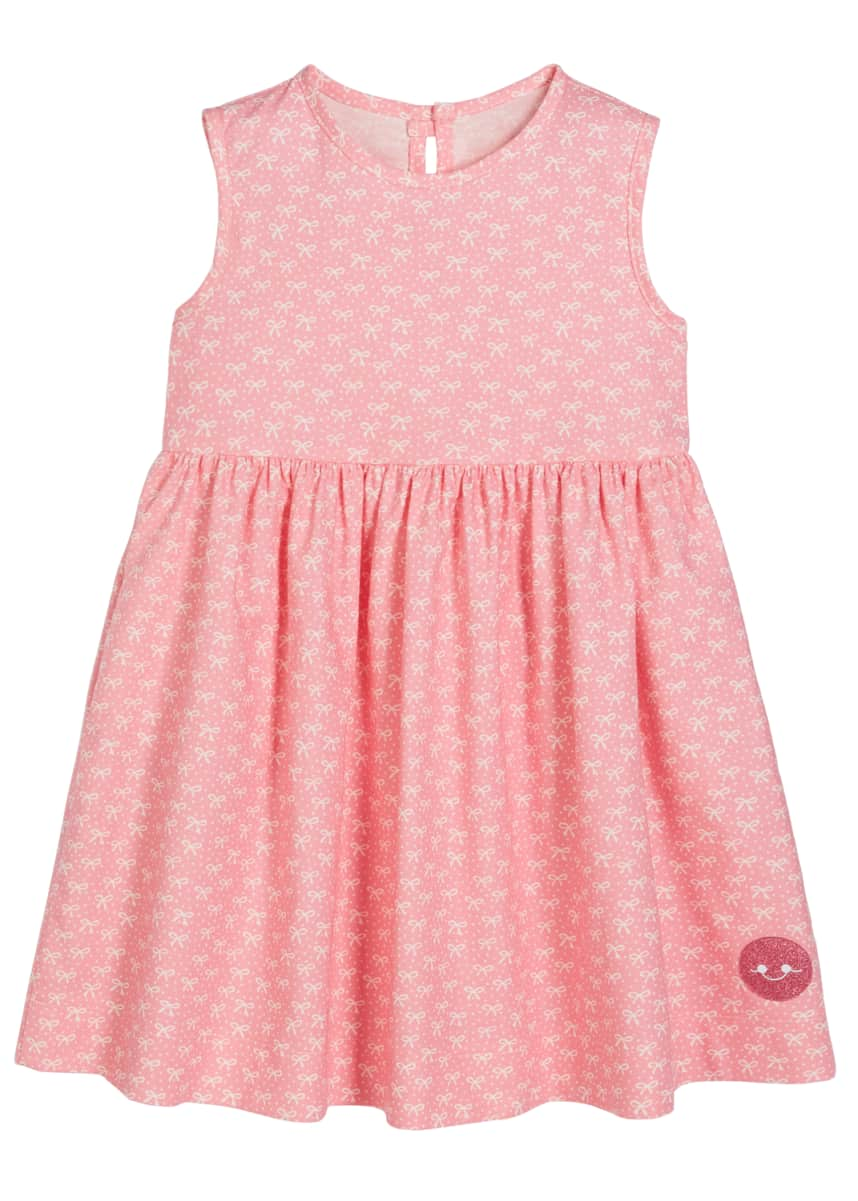 Smiling Button Ballerina Bow Print Sleeveless Dress, Size 0m-10