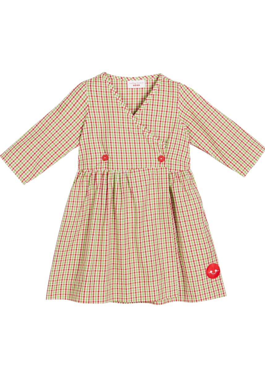 Smiling Button Holiday Check Print V-Neck Dress, Size 18m-10