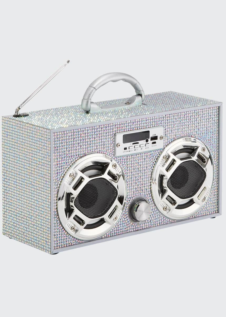 Wireless Express Retro Mini Bling Boombox w/ LED Dancing Speaker