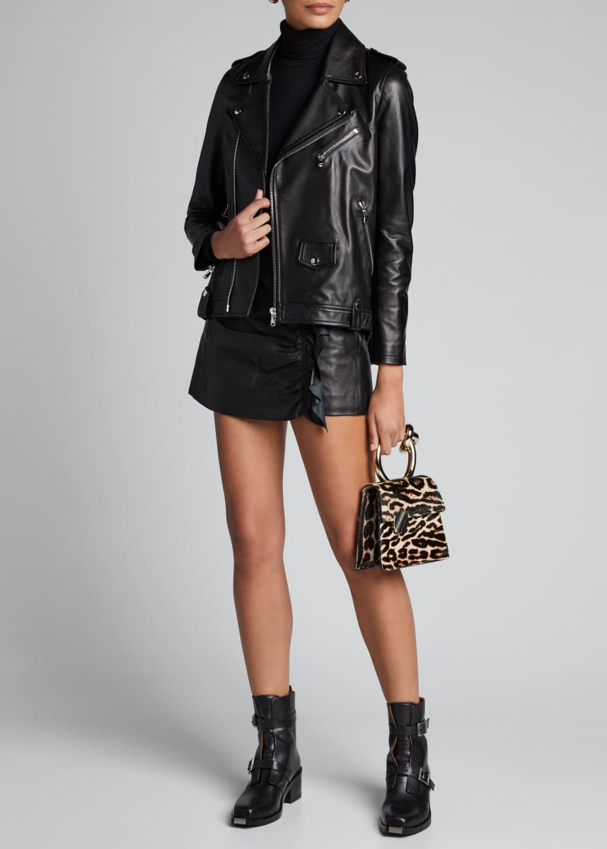 REDValentino Leather Pleated Back Moto Jacket