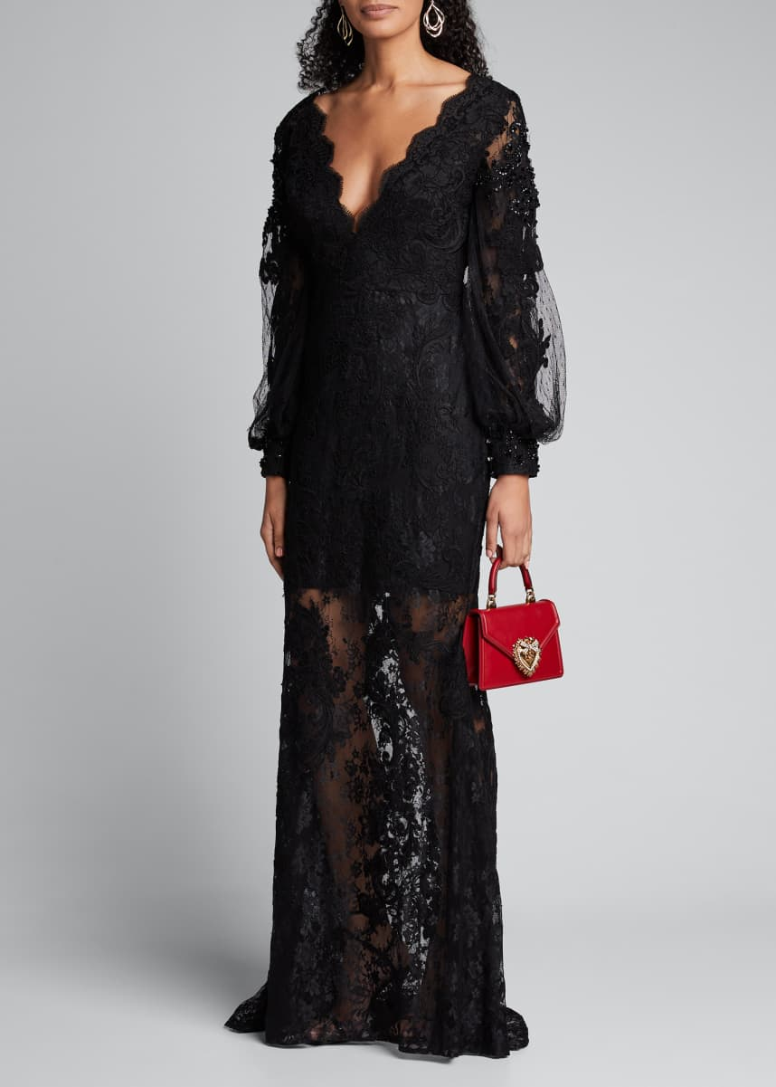 Badgley Mischka Couture Embroidered Lace Balloon-Sleeve Illusion Gown