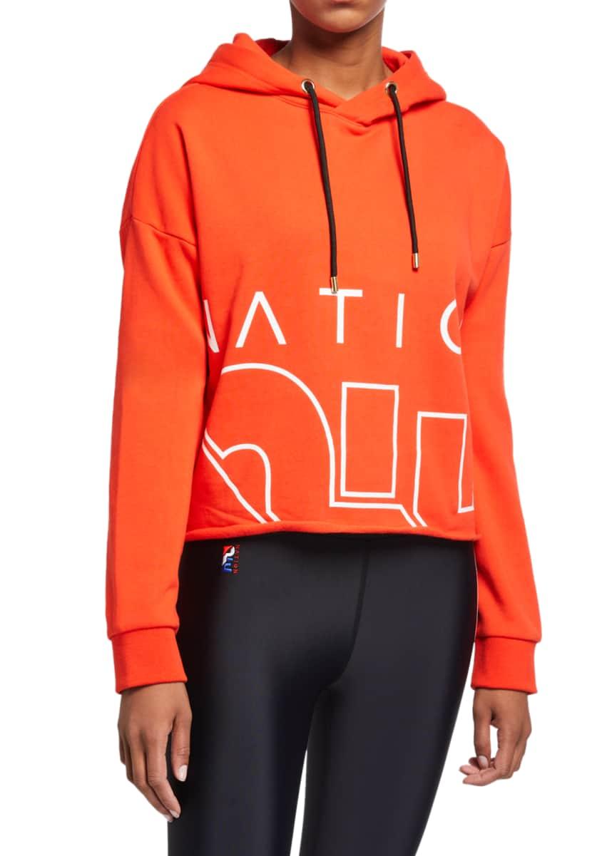 Hubery Women Colorblock Patchwork Hoodie Long Sleeves Tie Front Pullover Tops
