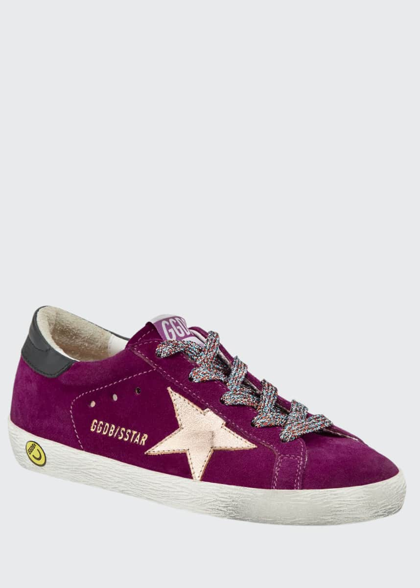 Golden Goose Girl's Superstar Suede Metallic Star Sneakers, Baby/Toddler