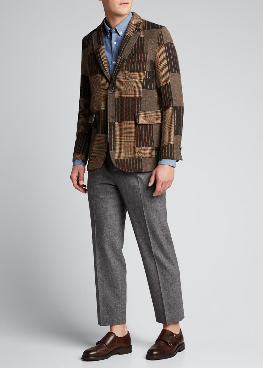 Beams Plus Men's Mixed Patchwork-Pattern Two-Button Jacket