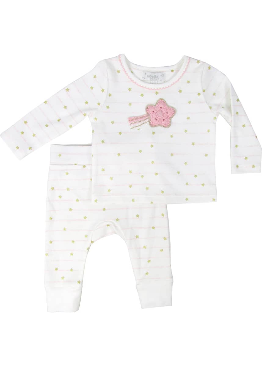 Albetta Kid's Stripe Stars Print Long-Sleeve Top w/ Matching Pants, Size 12-36 Months