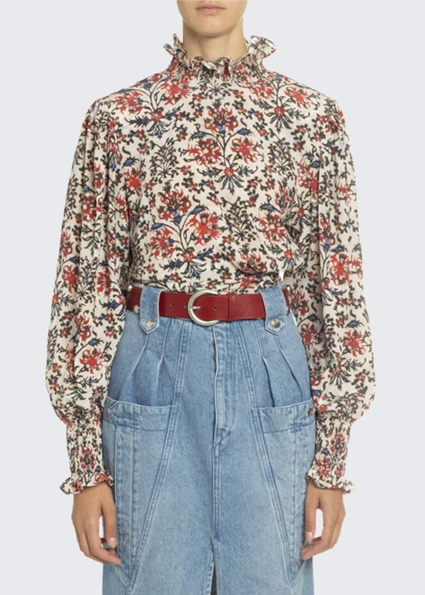 Isabel Marant Floral Print Silk Mock-Neck Blouse