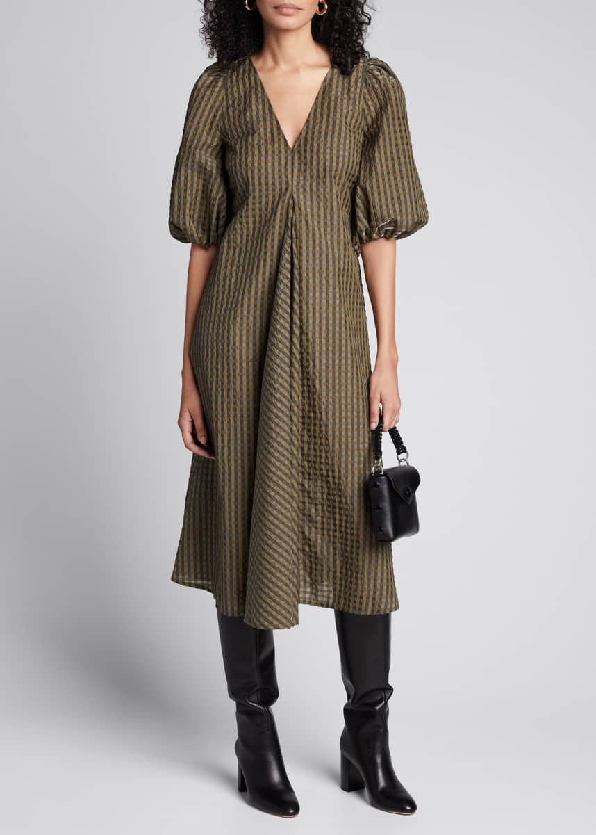 Ganni Seersucker Check Puff-Sleeve Midi Dress