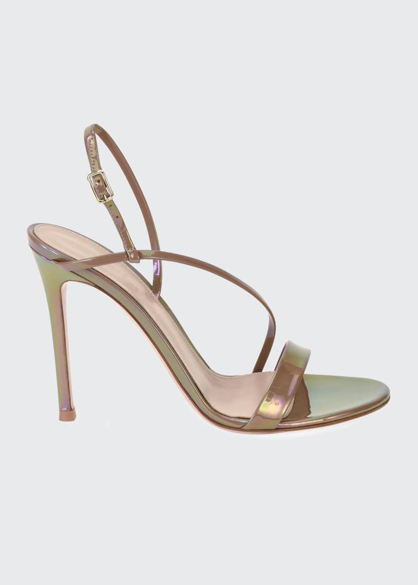 Gianvito Rossi Assymmetric Oil Patent Sandals