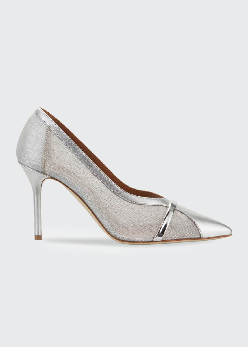 Malone Souliers Brook 85mm Sheer Mesh & Metallic Stiletto Pumps