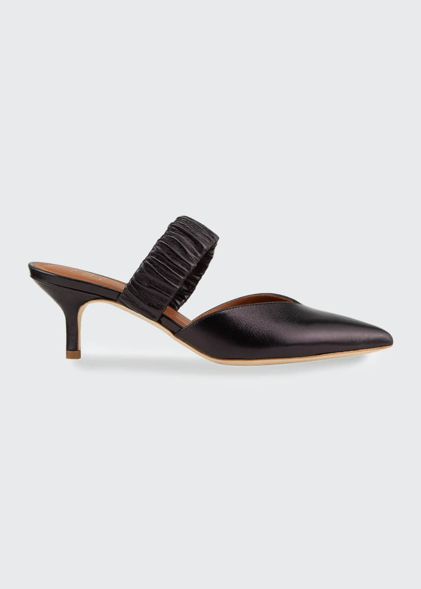 Malone Souliers Matilda Metallic Leather Ruched-Strap Mules